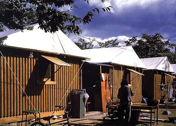 shigeru ban, Paper Long House, Kobe, 1995
