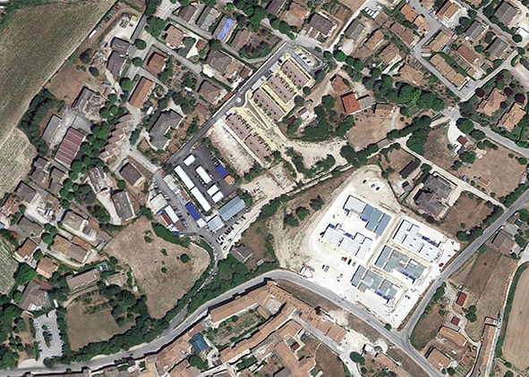 Norcia: the area after earthquake (aerial view 2017, Google Map).