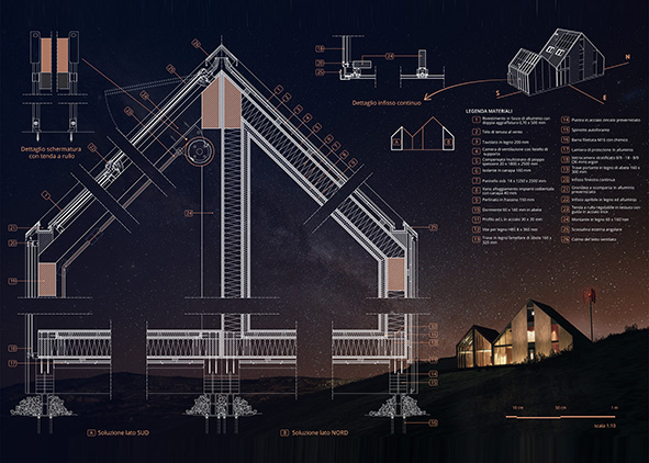 Construction details of the expansion of the Pesco di Iorio Refuge (credits: V. Santicchia)