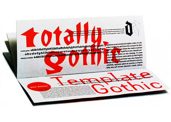 totally Gothic font, Emigre Fonts (Zuzanna Licko, 1991). agathón