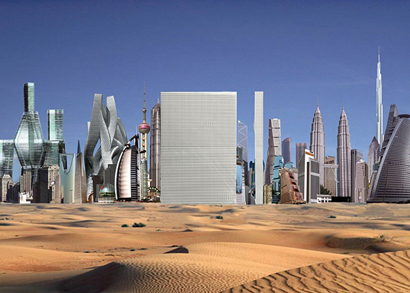 OMA, project of the mega-building Dubai Renaissance, 2006 (credit: OMA/AMO). AGATHÒN 06 | 2019