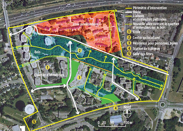 The district of Bout des Landes Bruyères in Nantes: Strategies of intervention for urban security; System of public spaces and green (credits: Le Moniteur, 2012; Germe&jam, 2011). AGATHÓN 07 | 2020