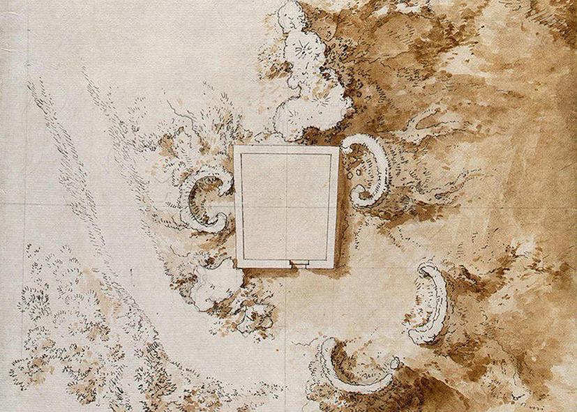 -J. P. Houël, particolare pianta del castagno dei cento cavalli, disegno, 1777