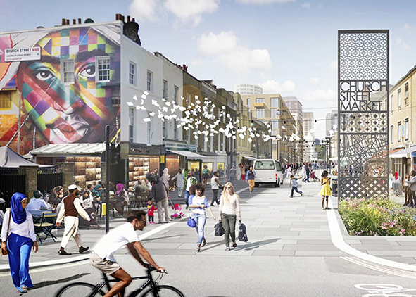Church Street Masterplan is a framework for inclusive growth leading to a safer, more social place to live; it is designed to deliver tangible benefits quickly for local people (credits: www.lda-design.co.uk/work/portfolio/church-street/, 2020). AGATHÓN 07 | 2020