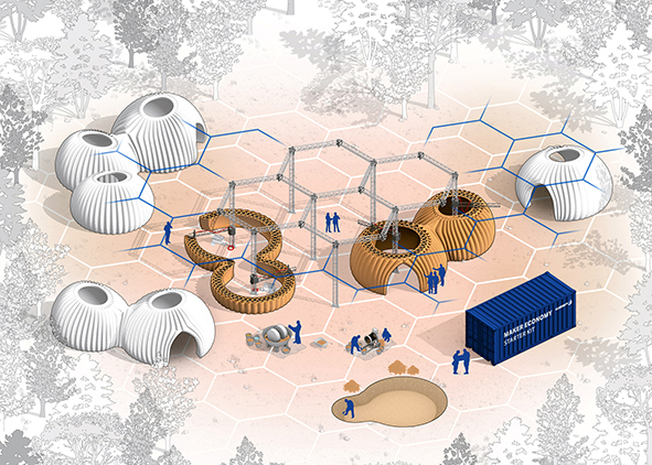 TECLA, 3D printing habitat by WASP Maker Economy Starter Kit. AGATHÓN 08 | 2020