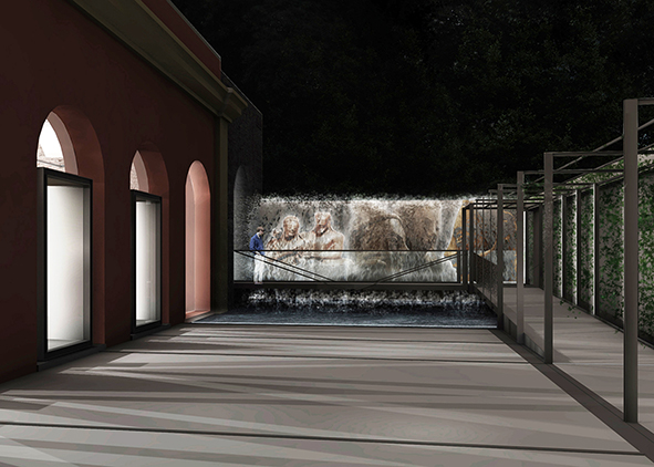 Night simulation of the outdoors, with the path delimited by the frames that runs parallel to the main façade of the Tannery, and that crosses the reflective pool to reach the 'cordonata' on the south side of the complex. The fountain, spectacular end of the route, can be the backdrop for video projections. AGATHÓN 09 | 2021